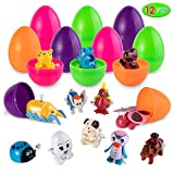 Easter Eggs Filled with Wind Up Animal Toys, 12 Pieces Assorted Clockwork Toy Set for Easter Theme Party Favor, Easter Eggs Hunt, Basket Filler, Classroom Prize Supplies