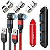Aporia Magnetic Charging USB Cable with 3-in-1 540° Rotating 5PIN Tips (IP + Micro + Type C) | Fast Charge and Data Transfer [2-Pack] Black 6.6ft + Red 3.3ft Cable + 2X Tips + Red Bullet + Desk Stick