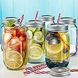 Regular Mouth Mason Jars Set of 6 Drinking Glasses Mugs 16oz Multifunctional Storage Jars with 3...