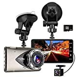 Dash Cam Car Recorder DVR Tvird 1296P Full HD Vehicle Camera with 4-Inch LCD,Night Vision,Wide Angle Lens,Motion Detection,WDR,G-Sensor,Loop Recording,16G SD Card Included