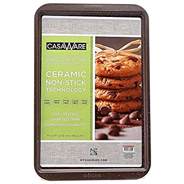 CasaWare Ceramic Coated NonStick Cookie/Jelly Roll Pan 11 x17  (Brown Granite)