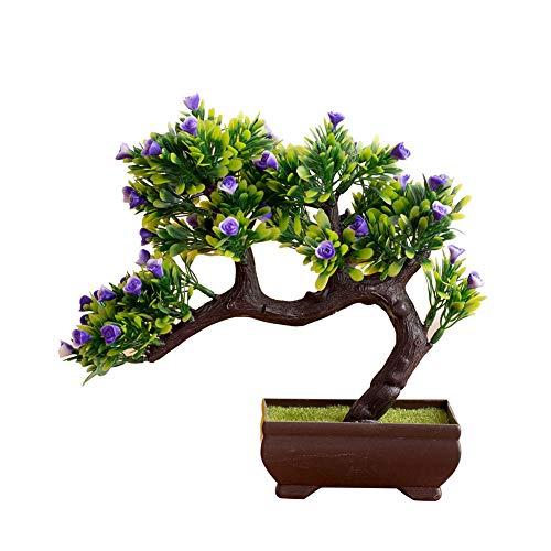 Steellwingsf 1 pot de fleurs artificielles, pot de bonsaï, décoration pour maison, bureau, jardin, chambre à coucher, bureau, décoration bleue.