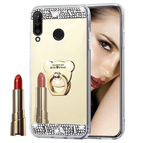 Glitzer Spiegel Hülle für Huawei P30 Lite Gold, Misstars Bling Diamant Strass Überzug TPU Silikon Handyhülle Ultradünn Kratzfest Schutzhülle mit Bär Ring Ständer für Huawei P30 Lite