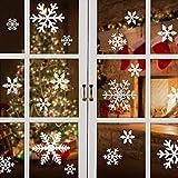 mixigoo Fensterbilder Schneeflocken, 87 Fensterdeko Schneeflocken Wiederverwendbar Wandtattoo Statisch Haftende PVC Aufkleber für Winter und Weihnachten