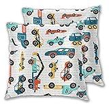 Funda de Almohada con Estampado 3D, Doodle Toy Racing Cars Heavy Construction Tru, Moderna Funda de Almohada para sofá, sofá, Cama, Coche, decoración del hogar, 18 'x 18',2 Piezas