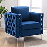 Modern Velvet Armchair, Harper & Bright Designs Tufted Button Accent Chair Club Chair with Steel Legs for Living Room Bedroom, Navy