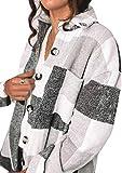 NDCATHE Camisa de tela escocesa con bolsillo para mujer, casual, suelta, abrigos, abrigos, abrigos