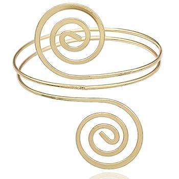 RechicGu Gold Victorian Filigree Swirl Gypsy Boho Armband Upper Arm Cuff Armlet Belly Dance Gift