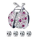 Abalorios mariquitas, S925 Charms Crystal Blessing Pink Beads Colgante con cuentas Stopper para pulsera y collar