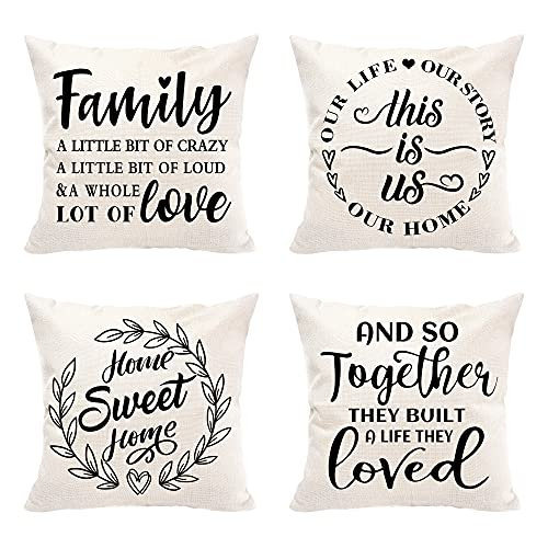Hexagram Farmhouse Decor Throw Pillow Covers 18x18 Set of 4, This is us - Family Saying Outdoor Square Pillow Cushion Cases, Decorative Home Pillow Cover for Sofa Couch Bedroom Porch Car Linen