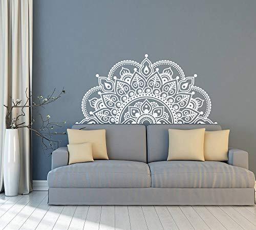TeriliziHalbe Mandala Wandaufkleber Yoga Lovers Geschenk Wandtattoo Bett Kopfteil Autofenster Aufkleber Abnehmbare Vinyl Mandala Tapete-116X57Cm Weiß