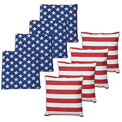 Weather Resistant Cornhole Bags - Set of 8 Bright American Flag Bean Bags for Corn Hole Game - Regulation Size & Weight - 4 Stars & 4 Stripes