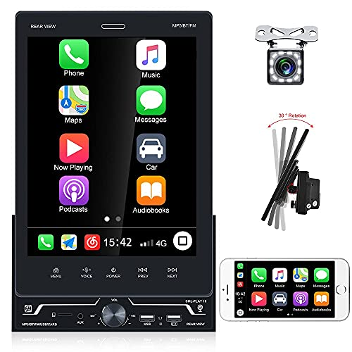 """Radio 2 DIN Bluetooth con D-Play GPS Función de Asistente de Voz 9.5"""" HD Pantalla Táctil Giratoria RDS/FM Radio Mirror Link + Cámara de Marcha Atrás de + 3 Interfaz USB"""