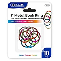 "BAZIC 1"" Assorted Color MetalブックRings ( 10/パック)ボックスパック24"