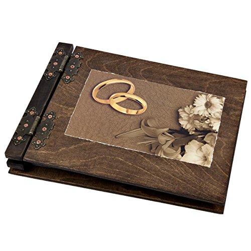 Ehe Hochzeitsalbum Fotoalbum aus Holz 50 Blatt 100 Innenseiten aus schwarzem Karton