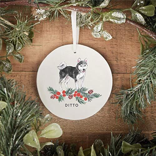 BYRON HOYLE Husky Hunde-Ornament, personalisierbar, Weihnachtsdekoration, sibirischer Husky, Weihnachtsschmuck, Pandemie, Weihnachtsdekoration, Hochzeitsdekoration, Urlaubsgeschenk