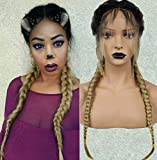 Anogol Hair Cap+ Braided Lace Front Wig with Braids Black Ombre Blonde Heat Resistant Synthetic Wigs with Baby Hair Pre-Plucked Hairline Hair Wig Braid for Women
