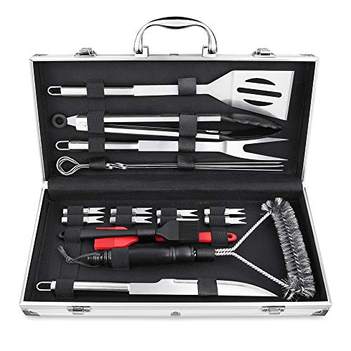 BEEWAY BBQ Tool Set with Aluminium Case 20 in 1, Premium Barbecue Grill Utensils Stainless Steel Tools