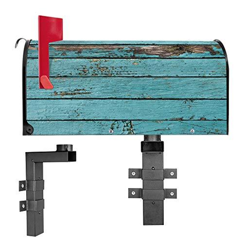 BANJADO US Mailbox | Amerikanischer Briefkasten 51x22x17cm | Letterbox Stahl schwarz | mit Motiv Blaue Holzlatten | inklusive Wandhalterung