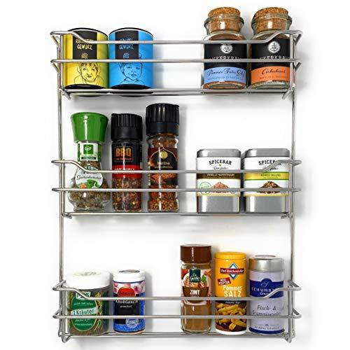 Kitcherieur | Edelstahl | Gewürzregal mit 3 Etagen 33,0x42,5x6,6cm, Gewürzhalter hängend für bis zu 21 Gewürzdosen in Küche/Outdoor für Grill da rostfrei, Küchenschrank Spice Rack Design silberfarben