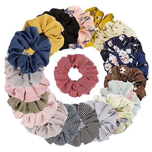 Sinwind 20 Stück Scrunchies Chiffon Haargummis elastische Haargummis Haargummis Mädchen Scrunchie für Frauen oder Mädchen Haarschmuck (Bunten)