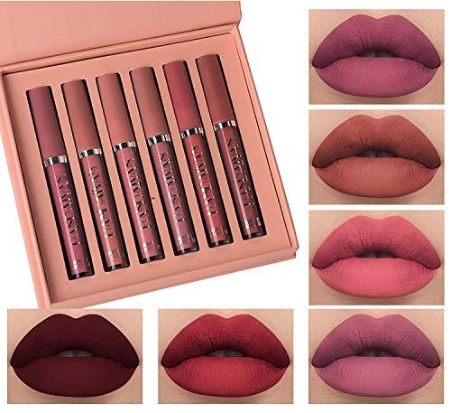 6Pcs Matte flüssiger Lippenstift Makeup Set, Matte Flüssigkeit Langlebig Tragen Non-Stick Cup nicht verblassen wasserdicht Lipgloss