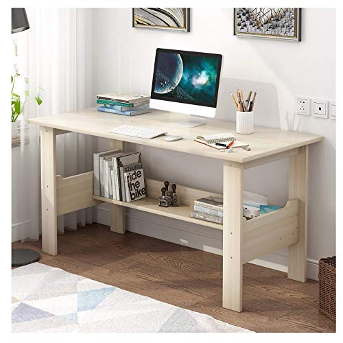 Study Table for Bedroom, White Wooden Desk Home Desktop Computer Desk Bedroom Laptop Study Table Office Desk Workstation 39.4 x 17.7 x 28.3 inches (White)