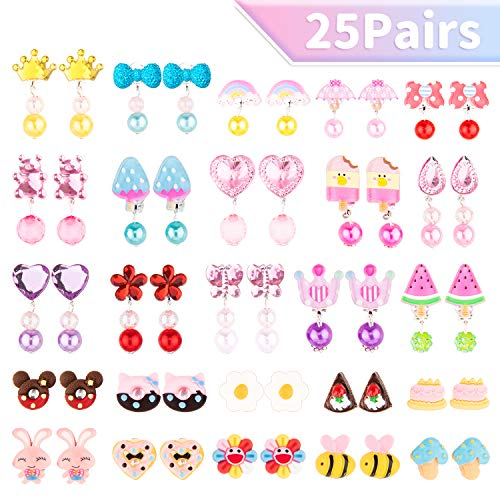 Whaline 25 Pairs Girls Earrings Clip with A Flower Shaped Box Girls Play Earring Princess Clip-On Earring Set No Pierced Design Jewellery Accessories Set Cute Clip On Earrings Party Favors