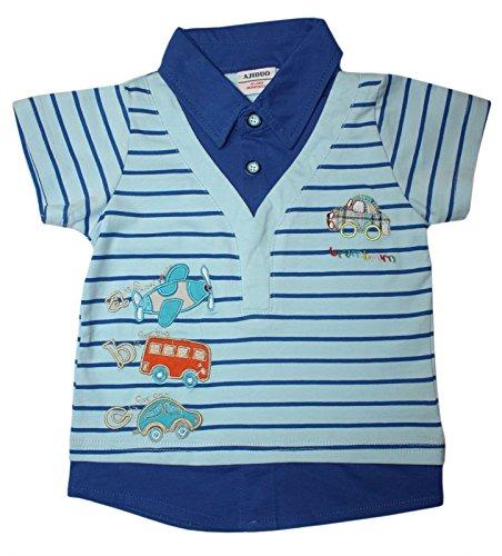 Ajiduo Jungen Kinder Polo-Shirt ABC-Applikation mit Fahrzeugen, Flugzeug, Auto und Bus in blau Größe 116 (5-6 Jahre)