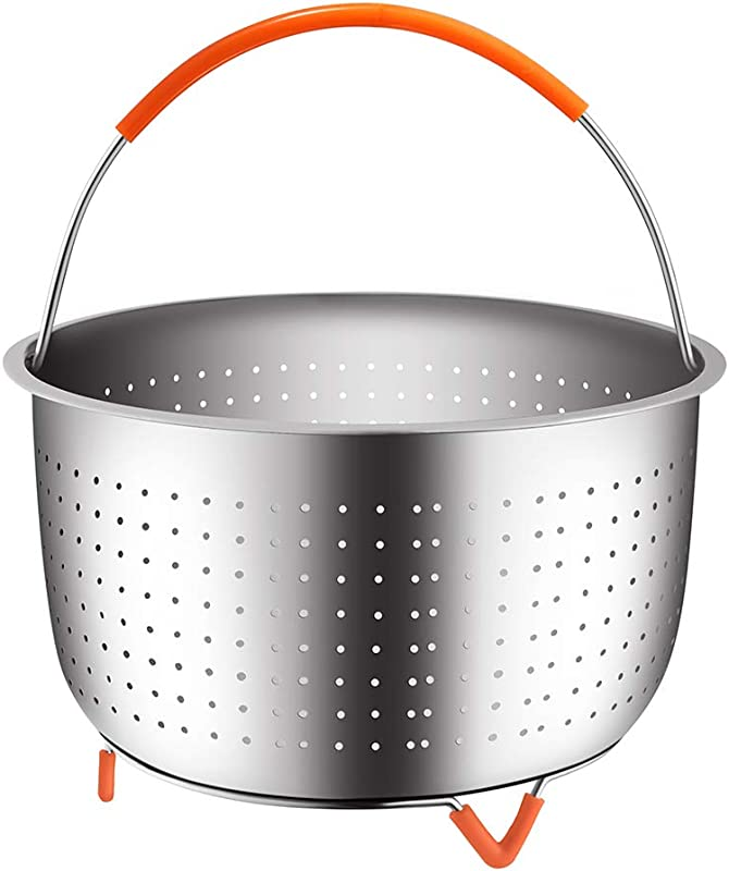 The Original Sturdy Steamer Basket For 6 Or 8 Quart Pressure Cooker 304 Stainless Steel Steamer Insert With Silicone Covered Handle