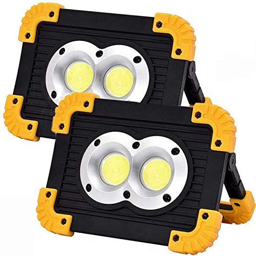 MFLASMF Luz de Trabajo LED portátil, reflectores Recargables para Exteriores con Puerto de Carga USB, 4 Modos de iluminación, lámpara de 20W 1500LM, Luces Exteriores Impermeables para Camp