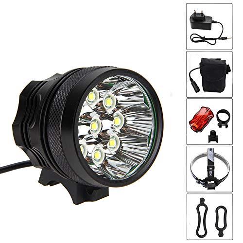 Wasserdicht Fahrradlicht 7200LM 9X CREE XM-L T6, Scheinwerfer,Kopflampen,Stirnlampe, Fahrrad Vorderes Leuchtturm, 3 Modes Mit 6 X 18650 Akku-Ladegerät Black
