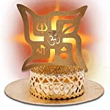 Pack x 2 - Portavelas símbolo Om y esvástica Color Dorado (Incluye 2 Velas). Porta Velas Decorativas para el hogar/Oficina. Decoracion Hindu candelabros elaborados 100% a Mano.
