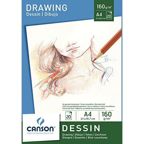 Canson 200005779 - Carta da disegno, formato A4, 160 g/m², 20 fogli, colore: bianco