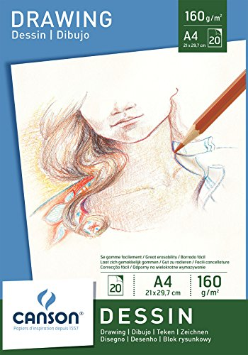 Canson Dibujo - Bloc de papel para dibujo, A4-21 x 29.7 cm