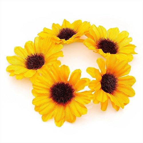 Daisy Flower Bun Ring Garland Scrunchie Elastic Hair Band (YELLOW). by Generic