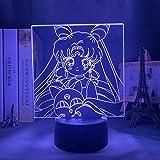Sailor Moon LED veilleuse lumière capteur tactile RVB veilleuse colorée Anime personnages lampe de Table LED, décor de chambre de filles