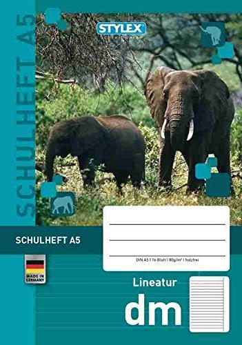 STYLEX Idena 29715 Cahier d'écolier avec motifs d'animaux 16 feuilles Format A5