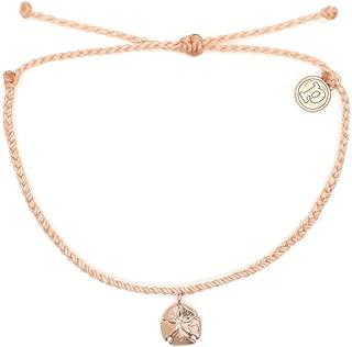 Pura Vida Rose Gold Sand Dollar Bracelet - Waterproof, Artisan Handmade, Adjustable, Threaded, Fashion Jewelry for Girls/Women