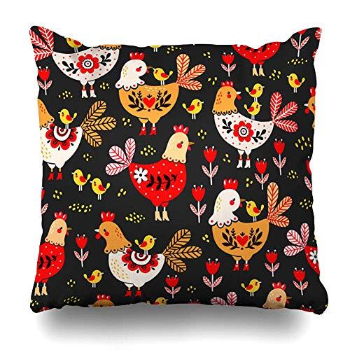 Decoratieve Gooi Kussen Cover Haan Rode Folk Kippen Kippen op Wing Patroon Huishoudelijke Vogelsnavel Zwarte Laarzen Ontwerp Home Decor Rits Vierkant Kussen Kussen 18x18 Inches