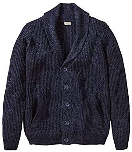 Livergy Herren Grobstrick Cardigan Strickjacke Pullover Jacke Melange Optik (L (52/54), blaumelange)