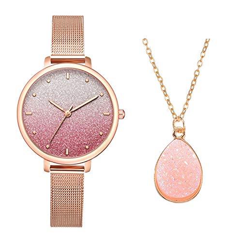 CHMORA Juegos de relojes para mujer - Reloj y pulsera para mujer - Relojes de pulsera - Elegante correa de aleación de alta gama hermosa reloj de cuarzo con diamantes de agua - Regalos para mujer