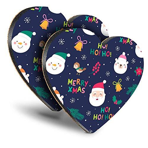 Destination Vinyl ltd Great Posavasos (Juego de 2) Corazón – Merry Christmas Papá Noel Festive Kids Cute Drink Brillante posavasos / protección de mesa para cualquier tipo de mesa #45713