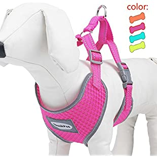 Customer reviews ThinkPet Reflective Breathable Soft Air Mesh Puppy Dog Vest Harness Neon Rosary S(Neck 32-39cm/Chest 32-45cm)
