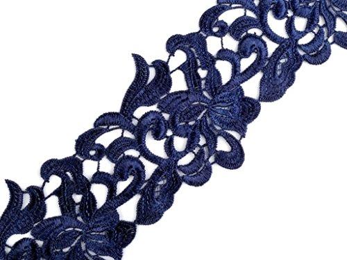 1m ÄtzSpitze Spachtelspitze Spitzen-Borte Guipure Zierband Vintage Shabby 75mm breit Farbe: blau 857