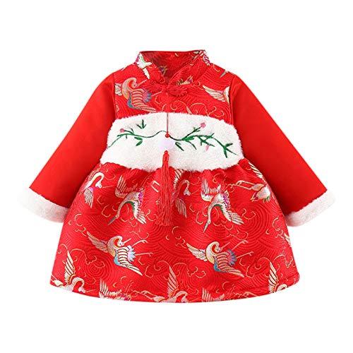 Vestido Beb Nia Estampado de Grua Encaje Tutu Vestidos Nias Princesa Rojo Manga Larga Ropa Bebe Recien Nacido Nia Estilo Chino Cheongsam (Rojo, 18-24 Meses)