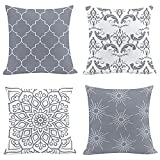 AMZQJD 4 Stück Kissenbezug Geometrische Muster Dekorative Kissenhülle Baumwolle Leinen Sie Kissenbezüge (40 x 40 cm, Grau)