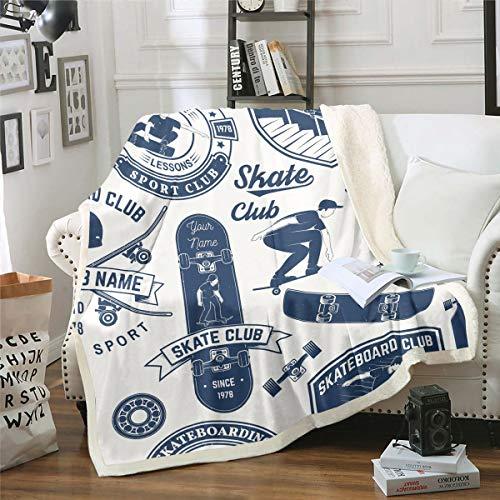 Manta de forro polar para monopatín, para niños, niñas, deportes extremos, de felpa, decoración hipster, para sofá, cama, sofá, cama doble, 152 x 192 cm