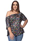Anna-Kaci Women's Plus Size Sequin Sexy One Shoulder Short Sleeve Party Club Top, Multicolored, XX-Large