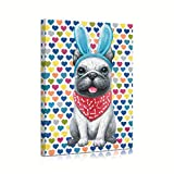 French Bulldog Wall Art Canvas: Dog Wall Art Bulldog Wall Pictures with Cute Headband for Bathroom Teen Girls' Room with Hearted Background Framed Easy to Hang (12